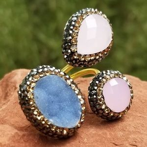 Triple Stone Druzy Ring - Adjustable